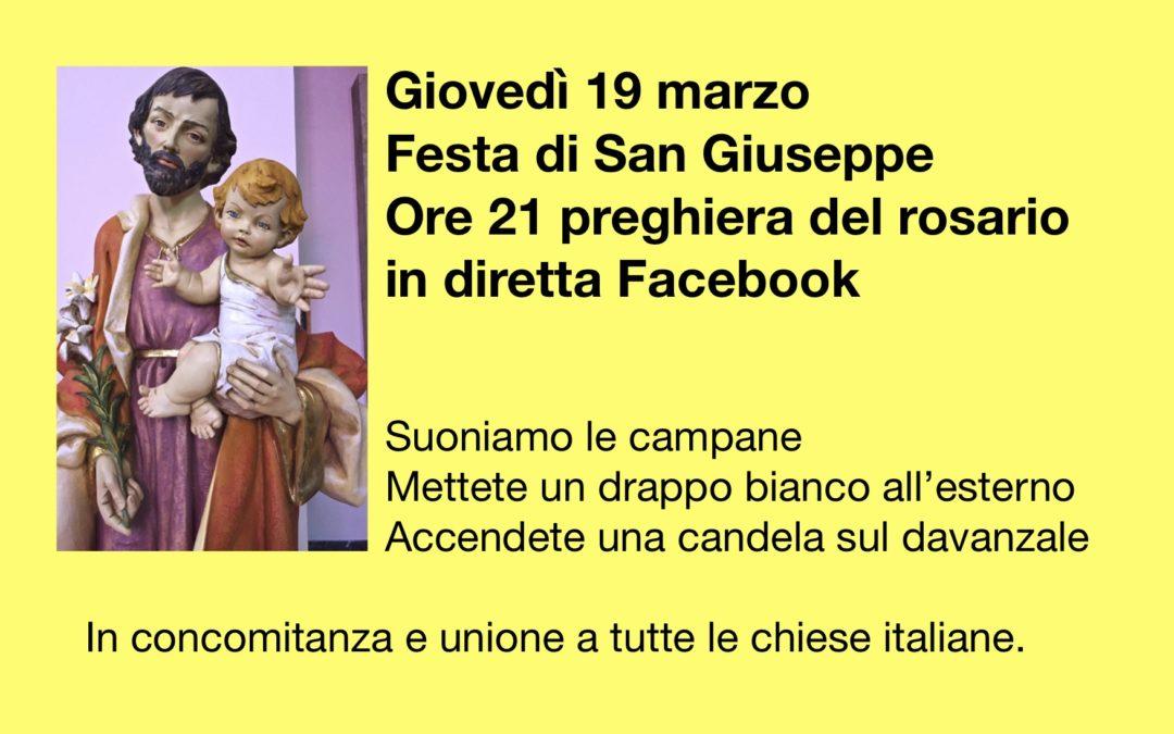 Giovedì Festa di San Giuseppe preghiamo il S.Rosario